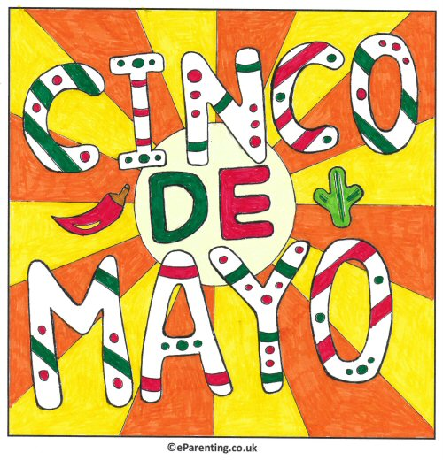 Free Printable Cimco de Mayo Colouring Picture