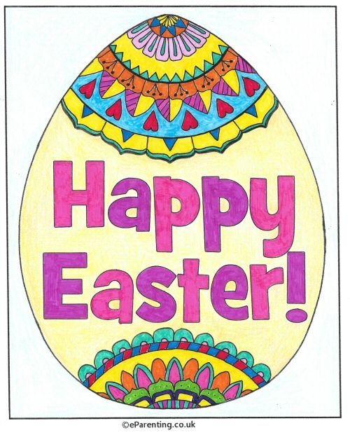 Happy Easter Egg Colouring Picture