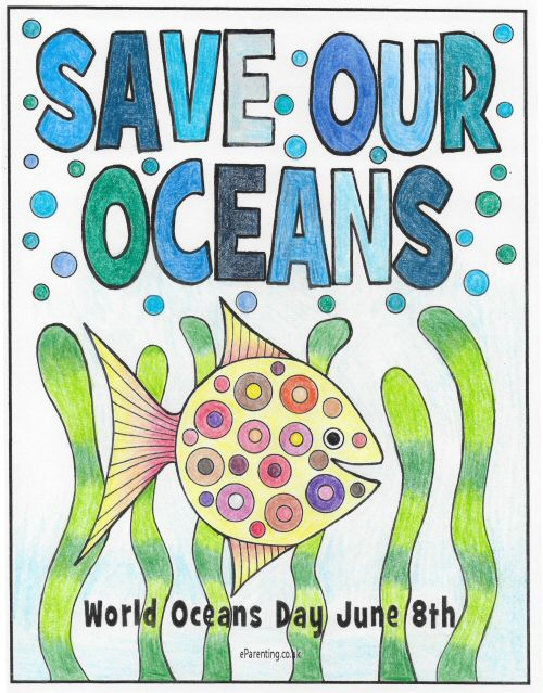 Save our Oceans free printable colouring poster