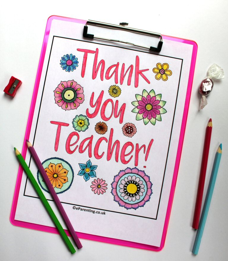 Thank You Teacher - Teacher Appreciation Colouring Picture