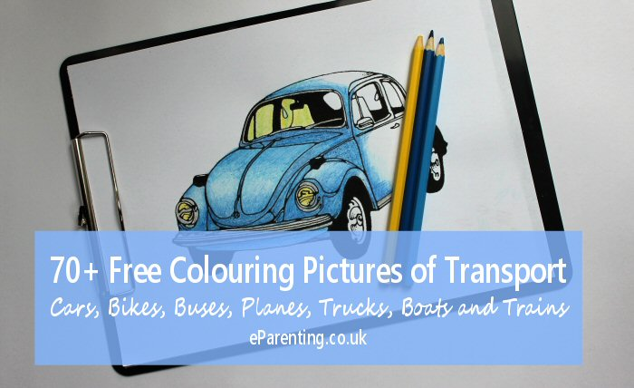 70+ Free Colouring Pictures of Transport - Cars, Bikes, Buses, Planes, Trucks, Boats and Trains