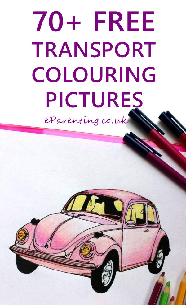 free colouring pictures of transport cars bikes buses planes