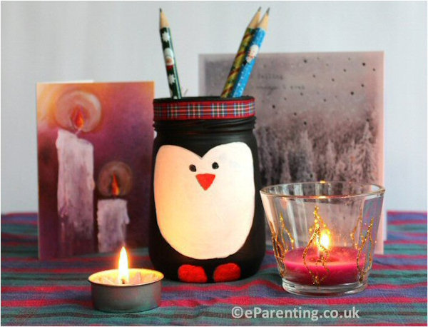 Upcycled Glass Jar Penguin Decoration