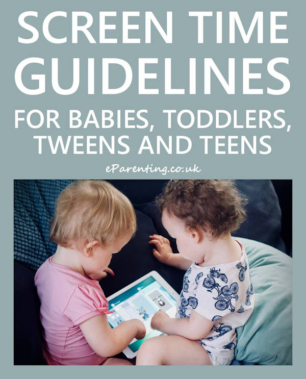 Screen time guidelines for babies, toddlers, tweens and teens.