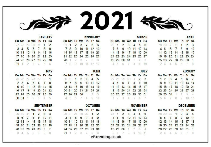 2021 Free Printable Calendar