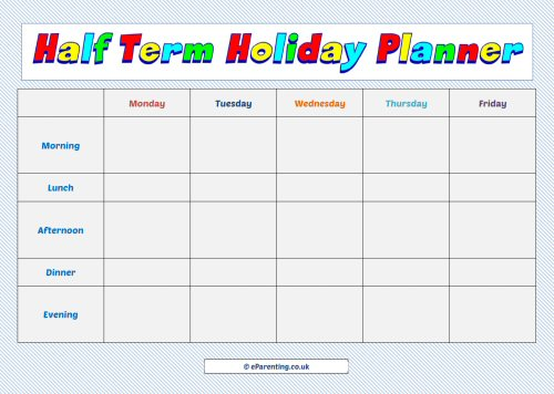 Half Term Holiday Week Planner
