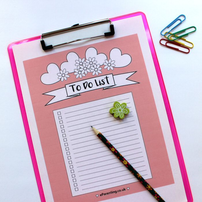 pretty pink printable to do list